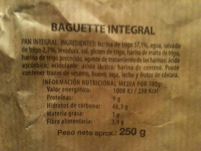 PAN LIDL BAGUETTE INTEGRAL